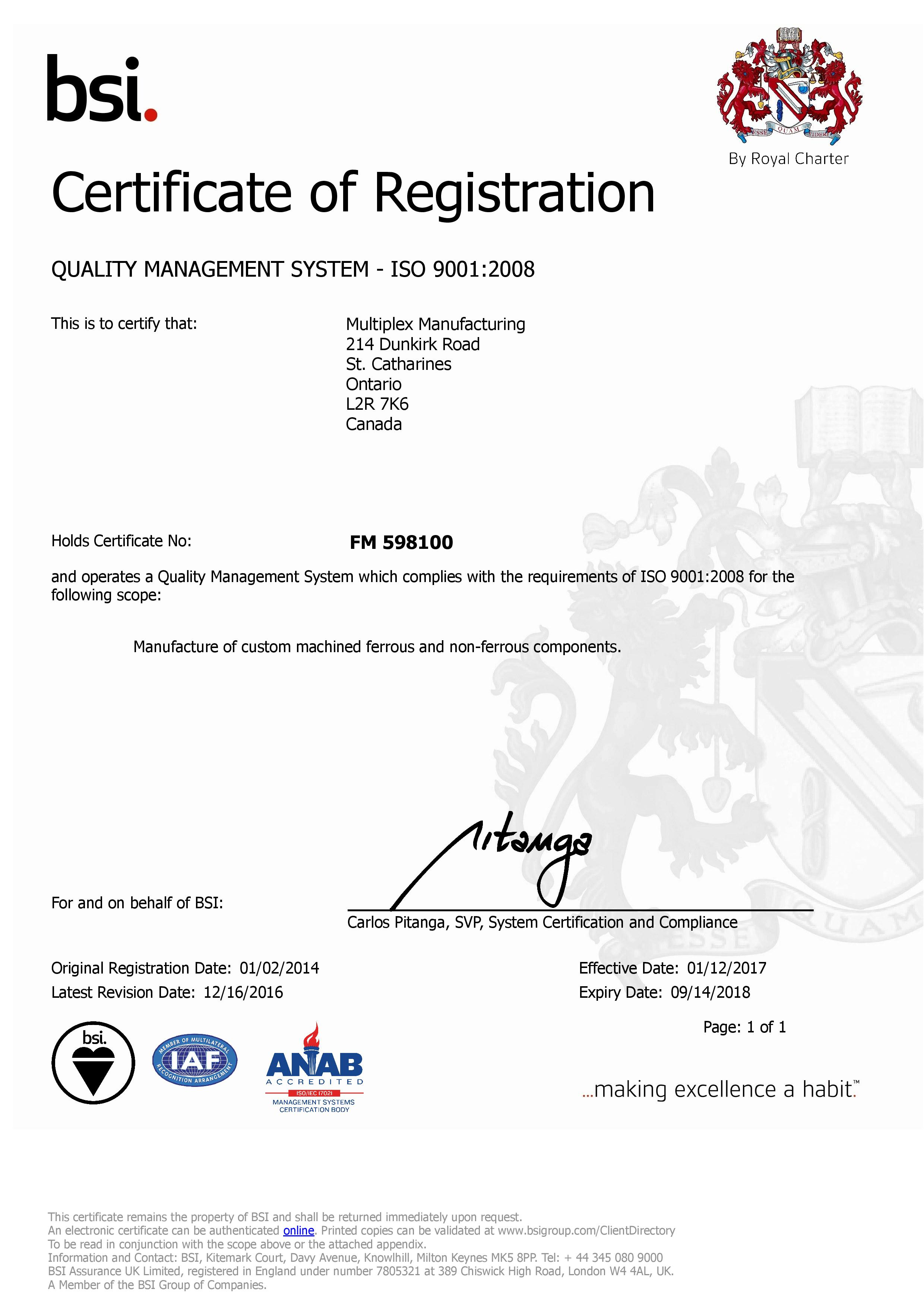 Quality Certifications | Multiplex Manufacturing | Ontario